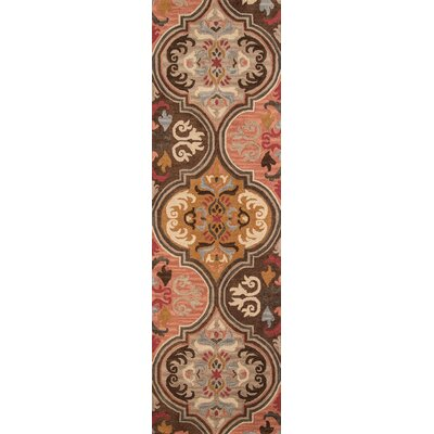Pearl Hand-Tufted Pink/Brown Area Rug Rug Size: 36 x 56