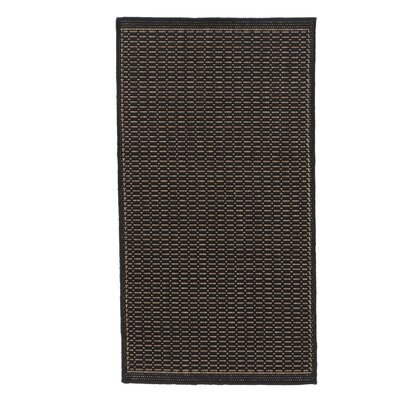 Ariadne Saddle Stitch Hand-Woven Black Cocoa Indoor/Outdoor Area Rug Rug Size: 53 x 76