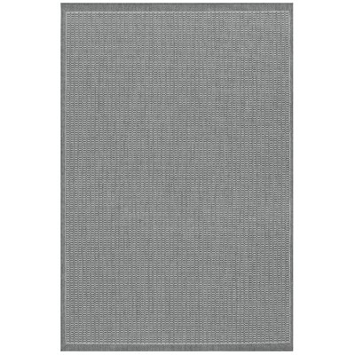 Ariadne Saddle Stitch Gray Indoor/Outdoor Area Rug Rug Size: 53 x 76