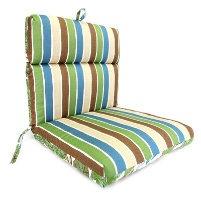 Reversible Dining Chair Cushion Fabric: Marley Emerald / Chino Stripe Emerald