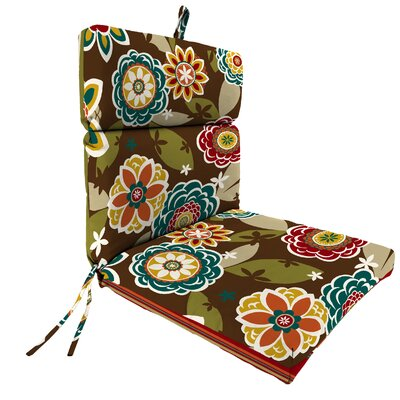 Reversible Dining Chair Cushion Fabric: Westport Teal / Annie Chocolate