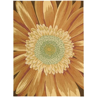 York Hand-Hooked Yellow Area Rug Rug Size: 19 x 29