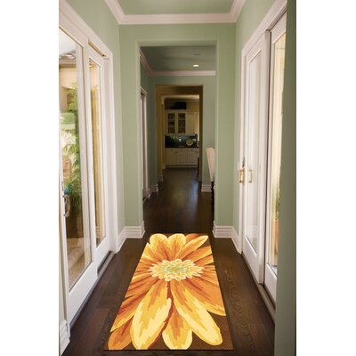 York Hand-Hooked Yellow Area Rug Rug Size: Rectangle 19 x 29