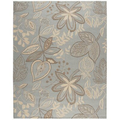 York Hand-Hooked Gray/Blue Area Rug Rug Size: 19 x 29