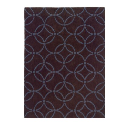 Columban Hand-Tufted Chocolate/Blue Area Rug Rug Size: 110 x 210