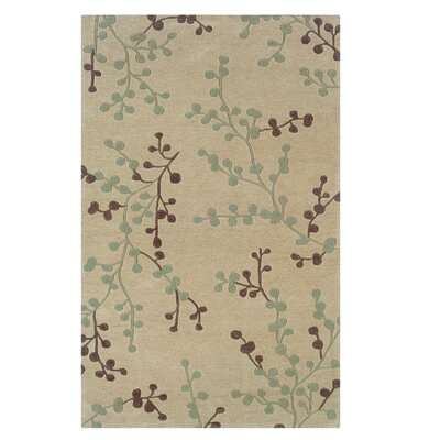 Columban Hand-Tufted Beige/Blue Area Rug Rug Size: 110 x 210