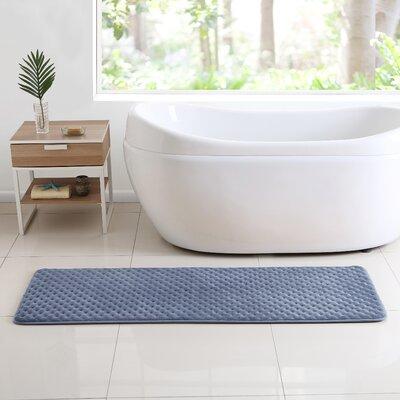 Glenna Memory Foam Runner Bath Rug Color: Blue