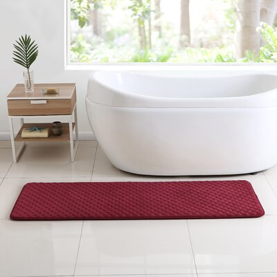 Glenna Memory Foam Runner Bath Rug Color: Red