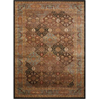 Ravens Brown/Black Area Rug Rug Size: 2' x 3'