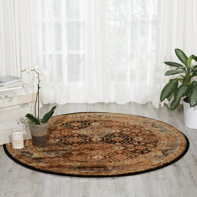 Ravens Brown/Black Area Rug Rug Size: Round 5'3
