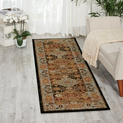 Ravens Brown/Black Area Rug Rug Size: Runner 2'2