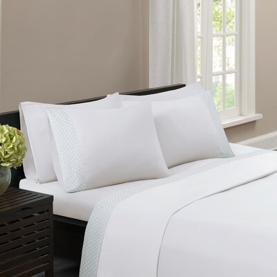 Nicoll Embroidered Sheet Set Size: Queen, Color: White/Aqua