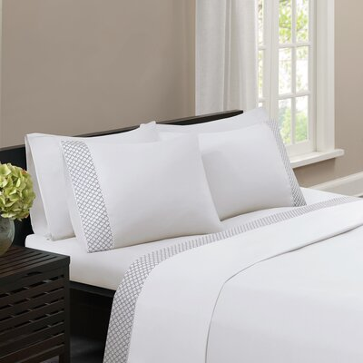 Nicoll Embroidered Sheet Set Size: Twin, Color: White/Black