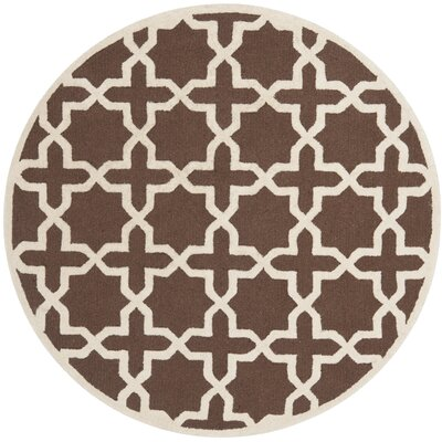 Brunswick Wool Brown/Ivory Area Rug Rug Size: Round 6