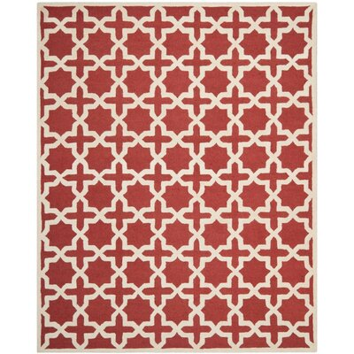 Brunswick Wool Red/Beige Area Rug Rug Size: Rectangle 8 x 10