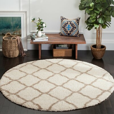 Buford Ivory/Beige Area Rug Rug Size: Round 7