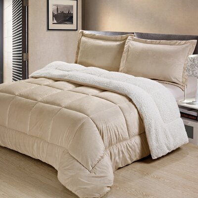 Abbey Box Comforter Set Color: Camel, Size: Full