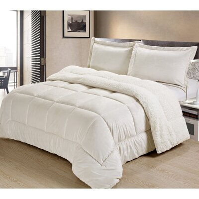 Abbey Box Comforter Set Color: Ivory, Size: Twin