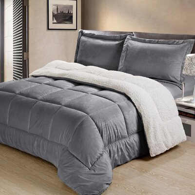 Abbey Box Comforter Set Color: Pewter, Size: Queen