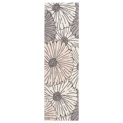 York Hand-Hooked Gray/Brown Area Rug Rug Size: Runner 2'3