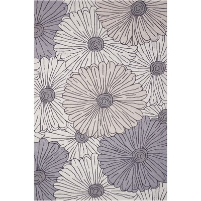 York Hand-Hooked Gray/Brown Area Rug Rug Size: 36 x 56
