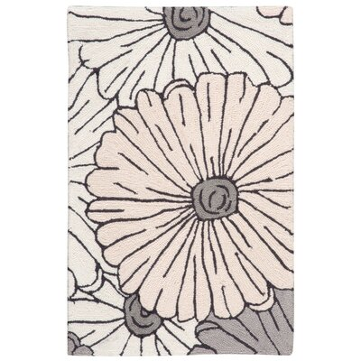 York Hand-Hooked Gray/Brown Area Rug Rug Size: 19 x 29