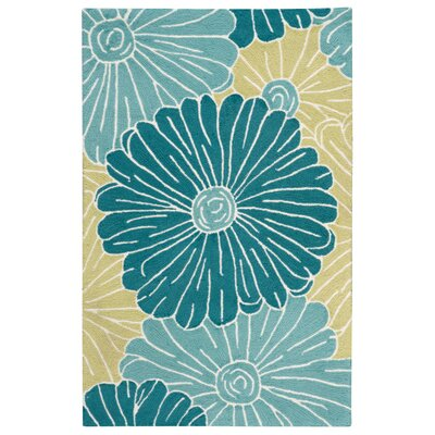 York Hand-Hooked Blue Area Rug Rug Size: Rectangle 26 x 4