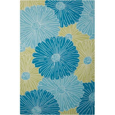 York Hand-Hooked Blue Area Rug Rug Size: Rectangle 5 x 76