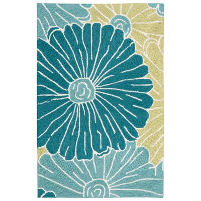 York Hand-Hooked Blue Area Rug Rug Size: Rectangle 19 x 29