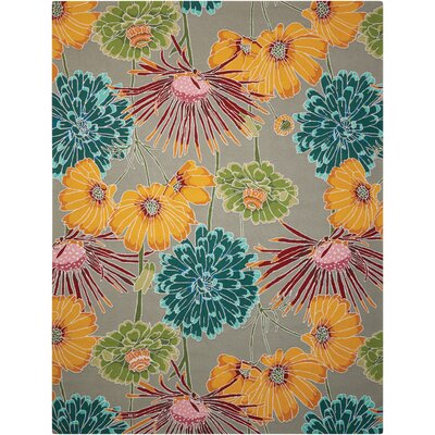York Hand-Hooked Gray/Blue/Orange Area Rug Rug Size: 36 x 56