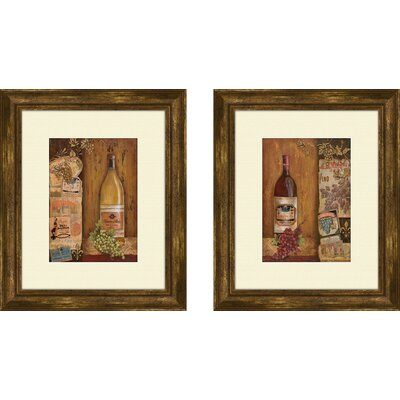Vintage 2 Piece Framed Graphic Art Set