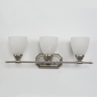 Halcott 3-Light Vanity Light Finish: Brushed Nickel with White Alabaster Shade