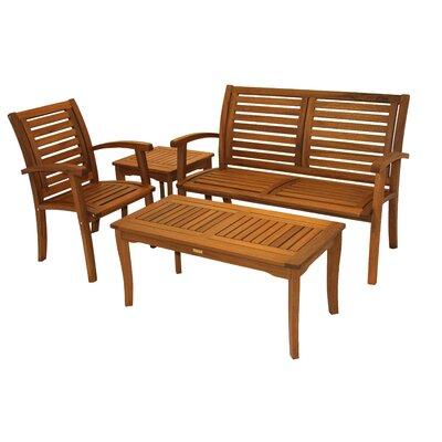 Harrietstown Eucalyptus 4 Piece Lounge Seating Group