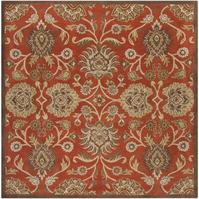 Mcloon Hand-Woven Wool Red Area Rug Rug Size: Square 6