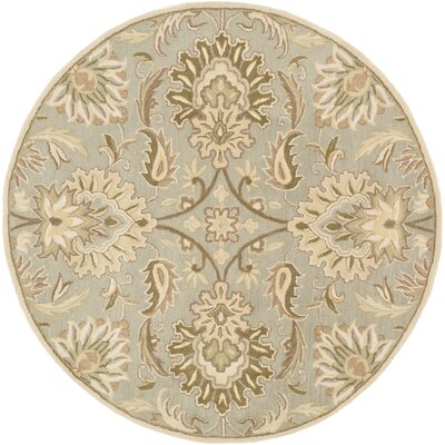 Camden Floral Blue Area Rug Rug Size: Round 6