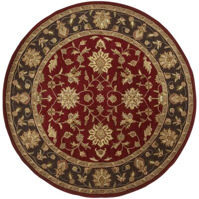 Markeley Hand-Tufted Burgundy Area Rug Rug Size: Round 8