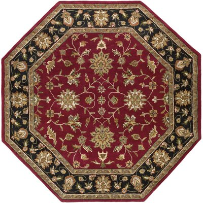 Markeley Hand-Tufted Burgundy Area Rug Rug Size: Octagon 8