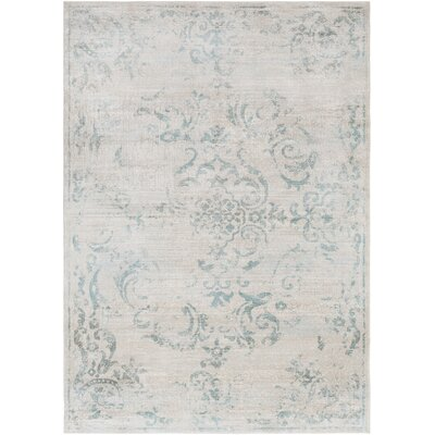 Cary Blue/White Area Rug Rug Size: Rectangle 52 x 76