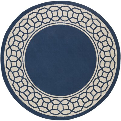 Osage Navy Indoor/Outdoor Area Rug Rug Size: Round 710