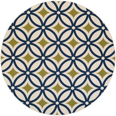 Cowell Navy Indoor/Outdoor Area Rug Rug Size: Round 710