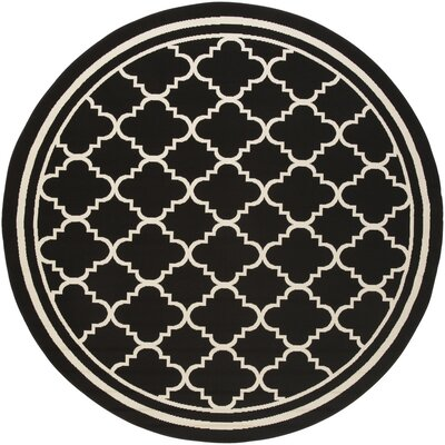 Osage Black Indoor/Outdoor Area Rug Rug Size: Round 710