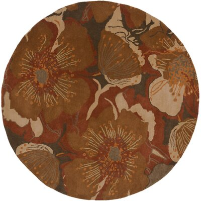 Millwood Dark Brown Area Rug Rug Size: Round 6