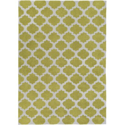 Windsor Lime/Gray Geometric Area Rug Rug Size: Round 8