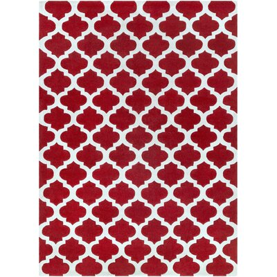 Windsor Cherry/Light Gray Geometric Area Rug Rug Size: Rectangle 36 x 56