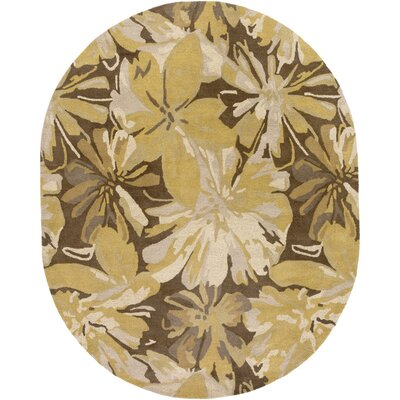 Millwood Gold/Chocolate Floral Area Rug Rug Size: Oval 8 x 10