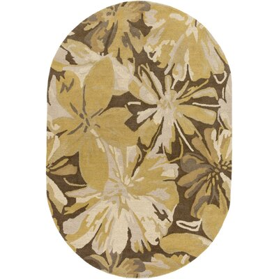 Millwood Gold/Chocolate Floral Area Rug Rug Size: Oval 6 x 9