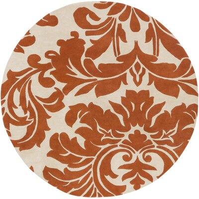 Rubin Hand-Woven Rust/Neutral Area Rug Rug Size: Oval 6 x 9