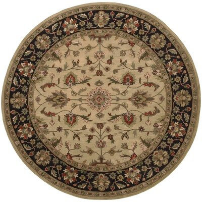 Stanford Gold/Charcoal Rug Rug Size: Round 8