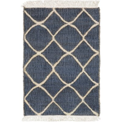 Ashley Hand-Woven Neutral/Blue Area Rug Rug Size: Rectangle 2 x 3