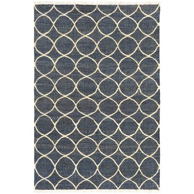 Ashley Hand-Woven Neutral/Blue Area Rug Rug Size: 5 x 76